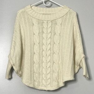 Ann Taylor Loft Knit Poncho Sweater Ivory PS\SP